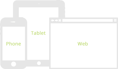 wireframes for phones, tablets and web